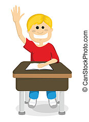 Cartoon schoolboy raising hand