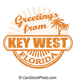 Greetings from Key West stamp - Grunge rubber stamp with...