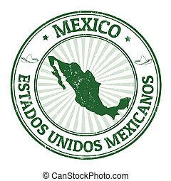 Mexico stamp - Grunge rubber stamp with the name and map of...