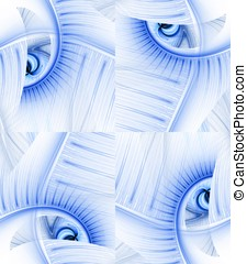 Flows in Squares Abstract - Futuristic blue pattern in...