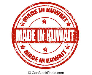 Made in Kuwait - Grunge rubber stamp with text Made in...