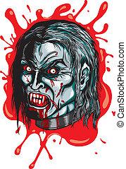 Vampire - Illustration head of vampire with fangs, angry...