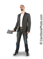 Angry looking man with meat cleaver, isolated on a white...
