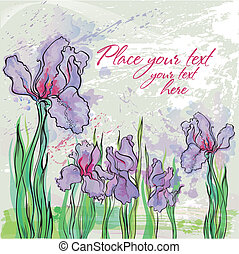Irises - Background with Irises in watercolor effect in...