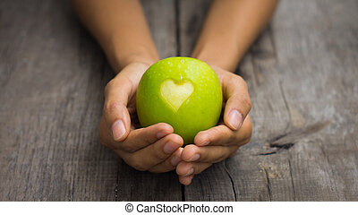Green Apple with engraved heart