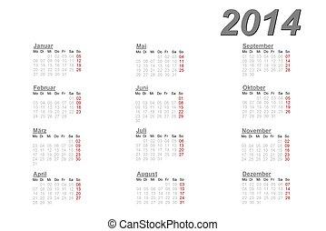 Niemiec,  2014, Kalendarz