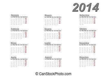 2014, Kalendarz, włoski