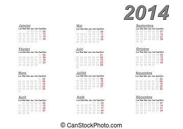 2014, Kalendarz, francuski