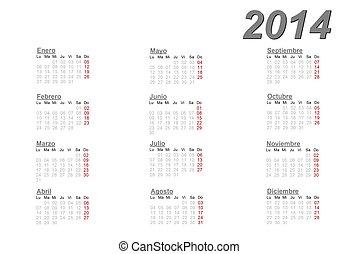 2014, Kalendarz, hiszpański