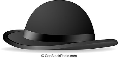 Black bowler hat. Vector