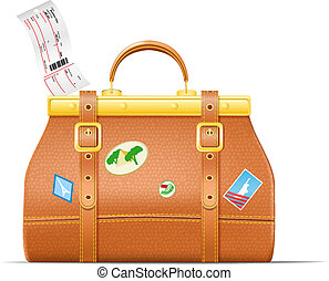 Vintage suitcase with stickers - Vector illustration EPS10...