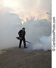 fogging for dengue - workers are fogging for dengue control