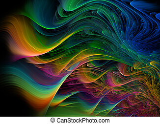 Fractal multicolored waves - Abstract background...