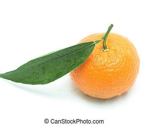 Tangerine with one leaf isolated on white with a slight...