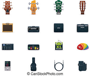 Vector guitar equipment icon set - Set of the guitar...