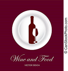 wine and food over red-wine background vector illustration