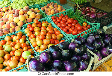 Peasant mediterranean market with biological fruits and...