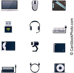 Vector laptop accessories icon set - Set of the laptop...