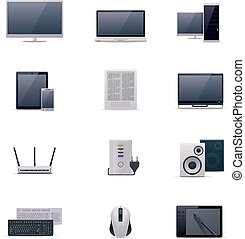 Vector computer icon set - Set of the computer related icons
