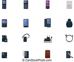 Vector cell phones and accessories - Set of the phones and...