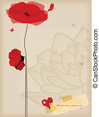 Floral background, poppies and butterfly romantic card, retro style