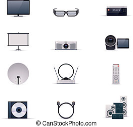 Vector video electronics icon set - Set of the video...