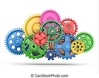 Perpetuum mobile Color gears on white isolated background 3d...