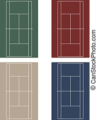 Set tennis courts - Vector set of tennis courts with light...
