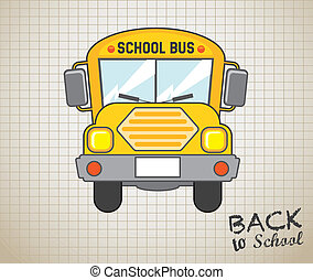 school bus icon over grid background vector illustration