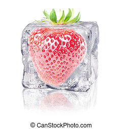 strawberry in an ice cube - a strawberry enclosed in an ice...