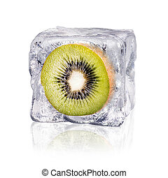 kiwi in an ice cube - a kiwi enclosed in an ice cube before...