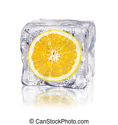 orange in an ice cube - a orange enclosed in an ice cube...