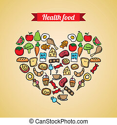 healthy food over cream background vector illustration