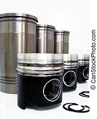 Set of liners and pistons on white
