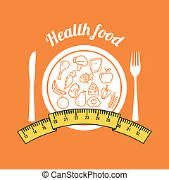 health food over orange background vector illustration
