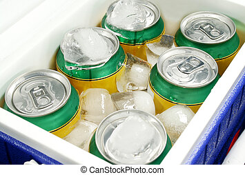 Drink Cooler 3 - Icy cold drinks in a plastic cooler.