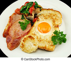 Egg In Toast - Egg embedded in toast with bacon, mushrooms,...