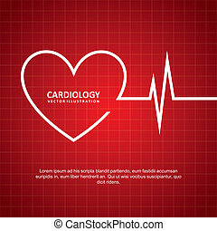 cardiology design over red background vector illustration