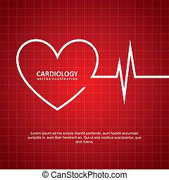 cardiology design over red background vector illustration