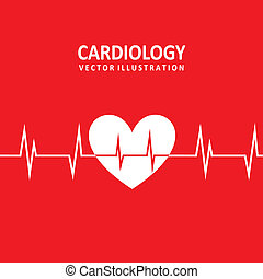 cardiology design - cardiology design over red background...