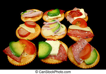 Finger Food 2 - Delicious assortment of cracker snacks with...