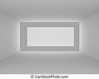 Empty room with big white backdrop, 3d art concept