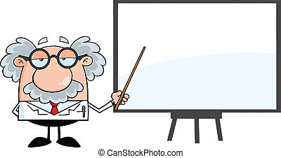 Professor Presenting On A Board - Funny Scientist Or...