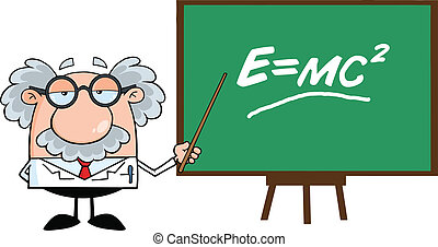 Funny Scientist Or Professor With Pointer Presenting...