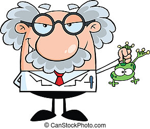 Professor Holding A Frog - Smiling Mad Scientist Or...