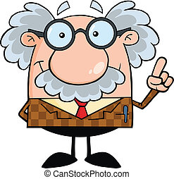 Smiling Professor With An Idea Cartoon Character