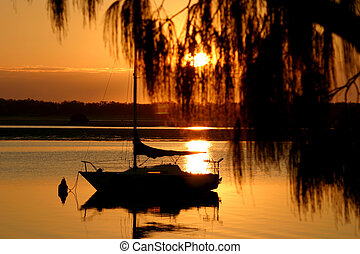 Doré,  yacht, matin