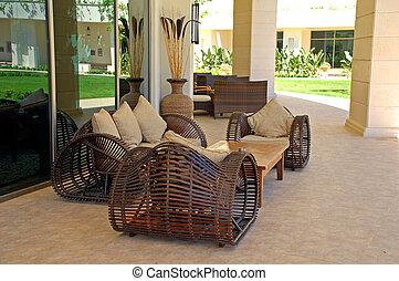 wicker outdoor furniture on luxury resort - wicker outdoor...