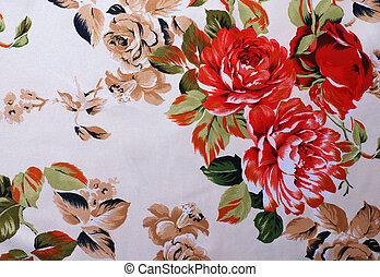 Silk floral fabric with red rose flowers on a beige...