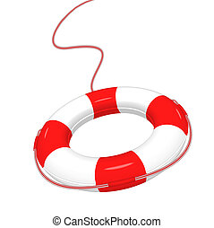Lifebuoy - Vector illustration of white red Lifebuoy...